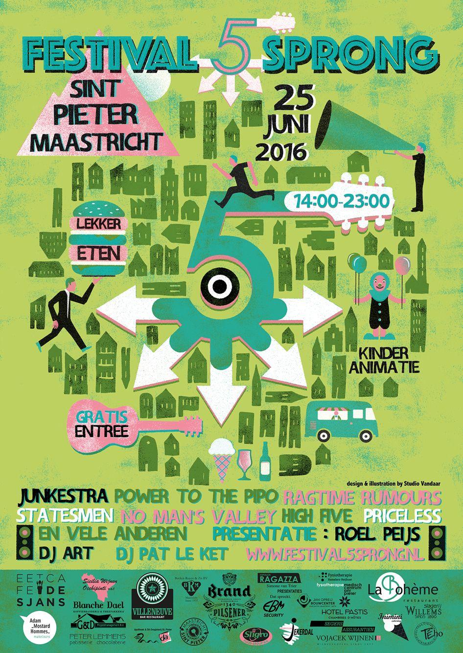 Poster Festival 5sprong 2016 Festival Illustration High Five