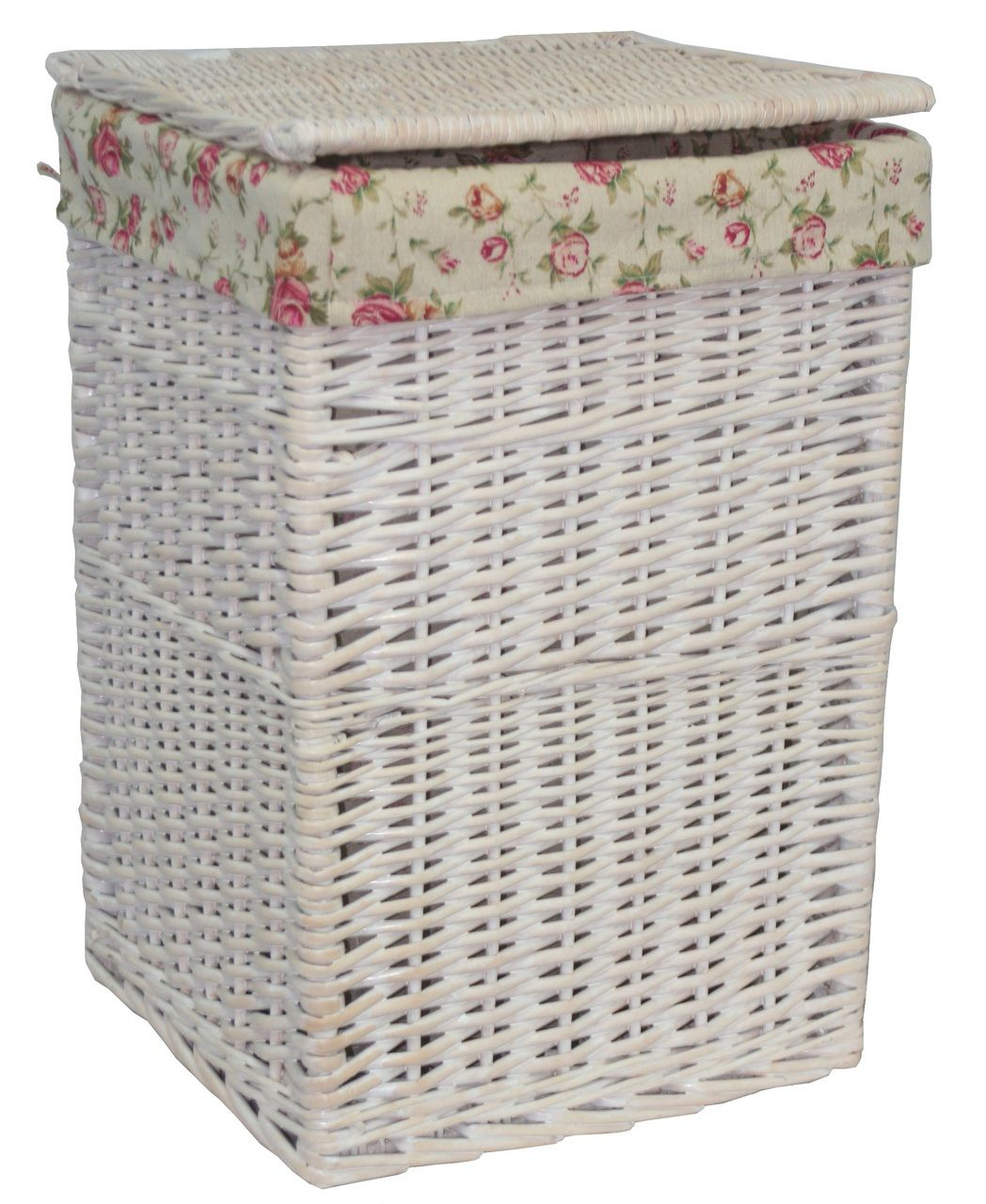 Wash Basket Square White Wash Laundry Basket With A Garden Rose Lining