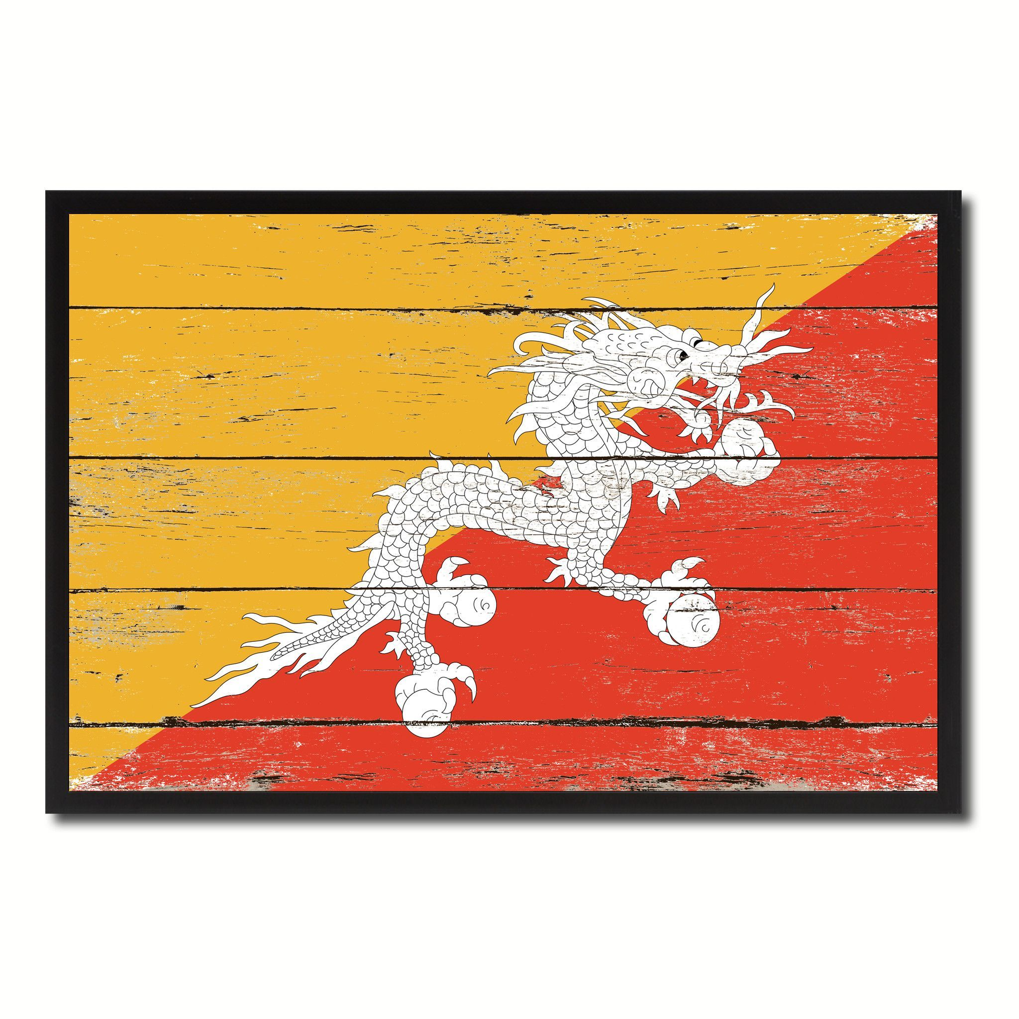 Bhutan Country National Flag Vintage Canvas Print with Picture Frame ...