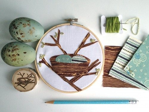 tutorial: fabric bird nest in embroidery hoop