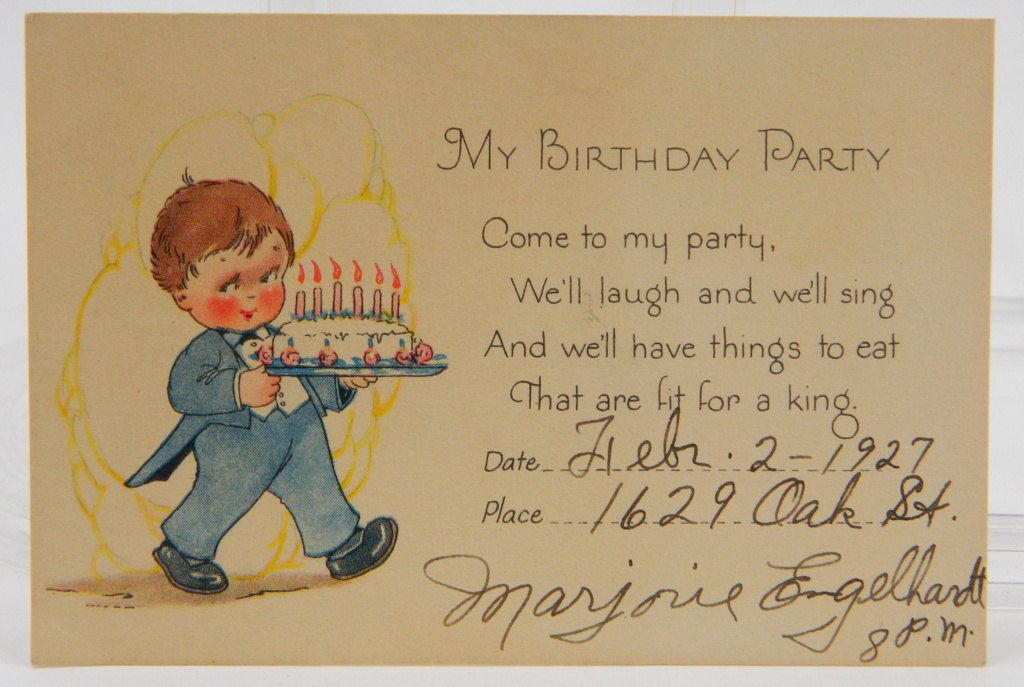 1920s childrens birthday party invitation little boy with a 1920s childrens birthday party invitation little boy with a birthday cake by queeniescollectibles on etsy filmwisefo