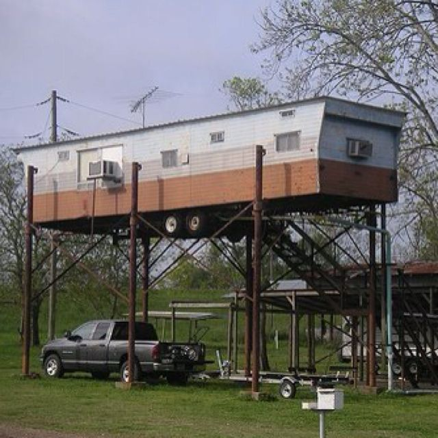 Trailer home on stilts stupid and not safe but so was for Manufactured home on stilts