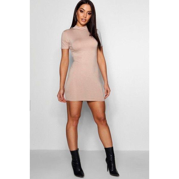 Boohoo Kelly Jersey High Neck 1/2 Sleeve Mini Dress ($15) ❤ liked ...