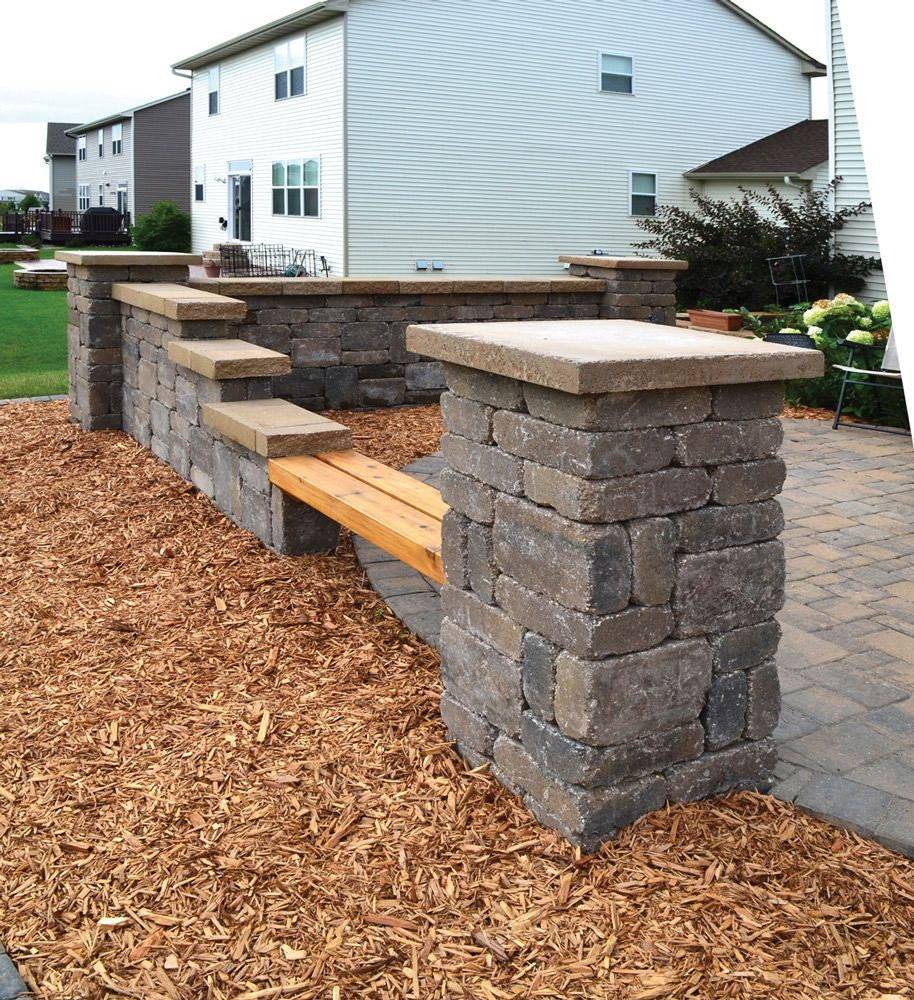 Stone And Wood Bench: Ledgestone Columns And Walls Add A Variety Of Seating