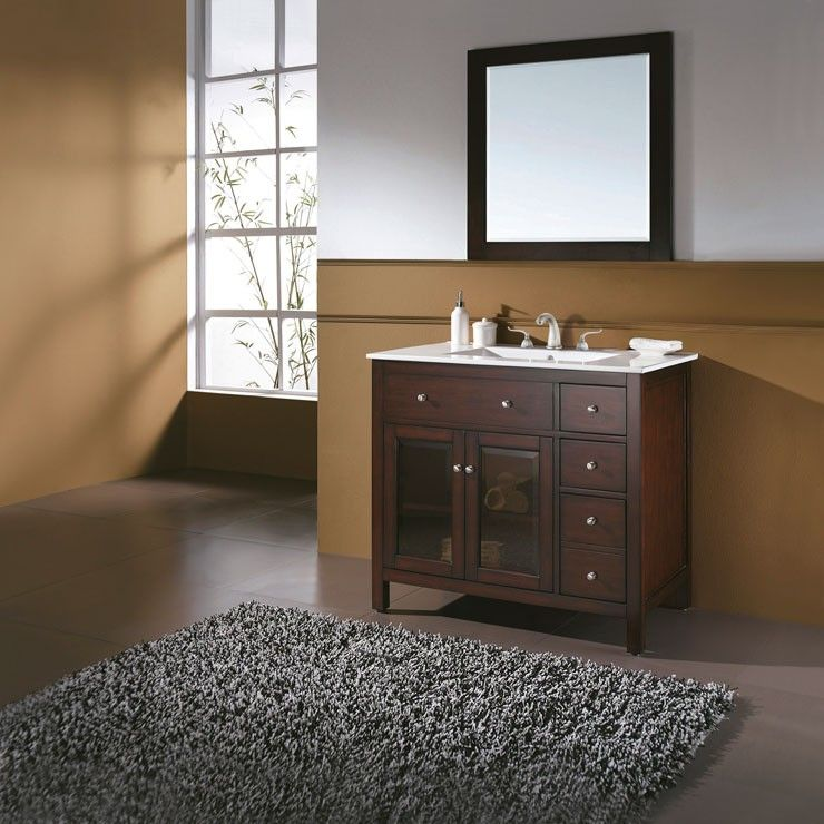 Delightful Bathroom Vanity Design With Brown Combined White Wall Paint  Color Also Black Fur Rug Area And Wall Mounted Rectangle Mirror And Faucet  And ...
