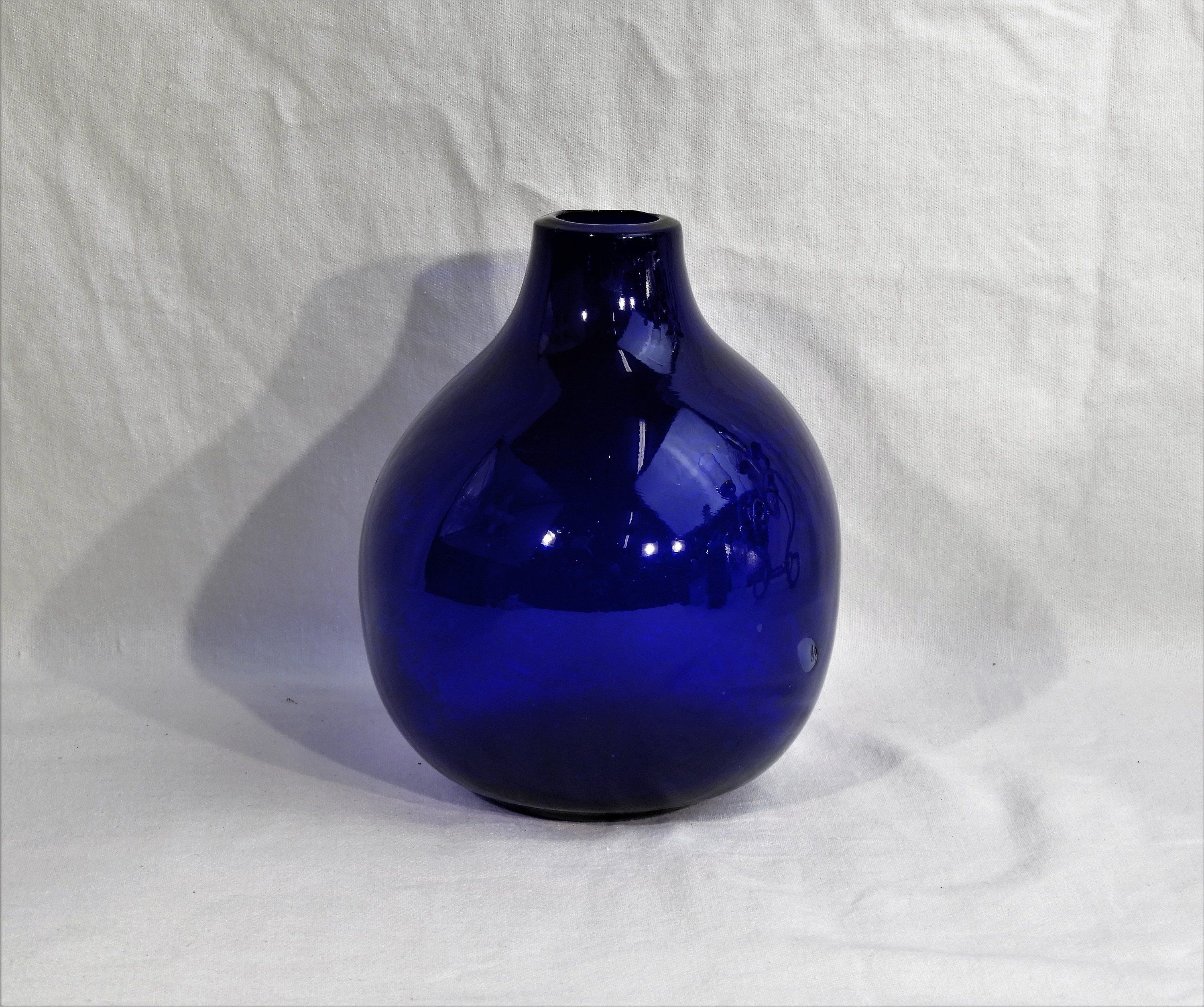 Best Vintage Cobalt Blue Vase Blown Glass Small Round Globe 400 x 300