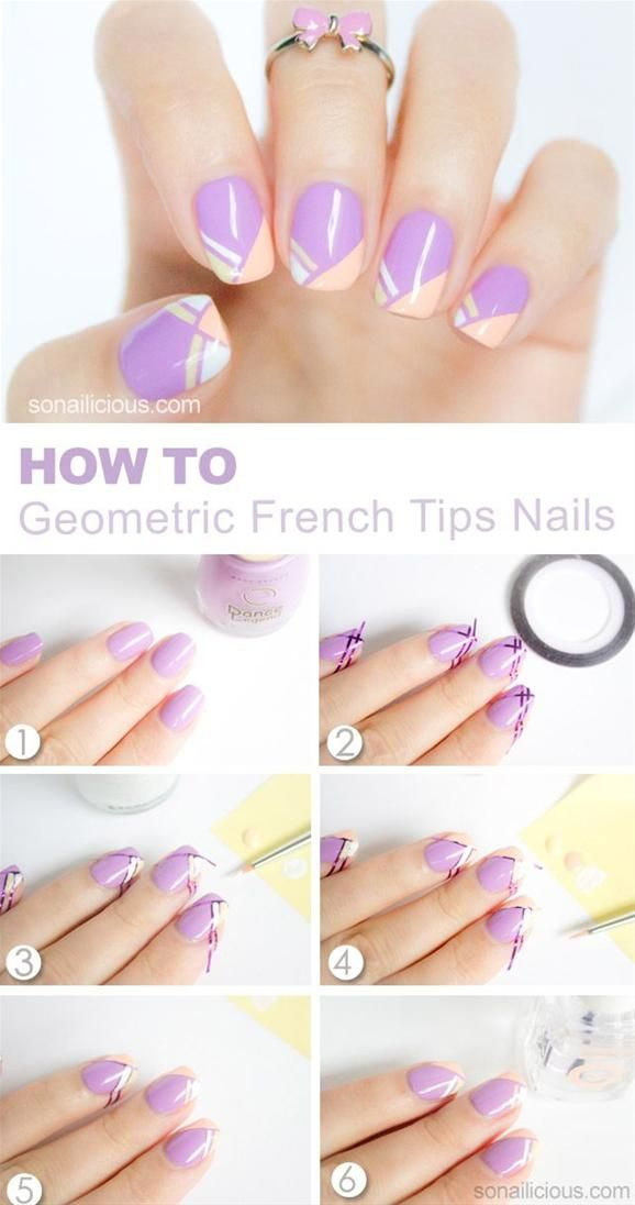 Geometric French Tip Nail Art Tutorial - Head over to Pampadour.com for more fun and cute nail art designs!