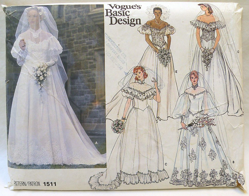 Vintage s vogue wedding bridal dress pattern size unused