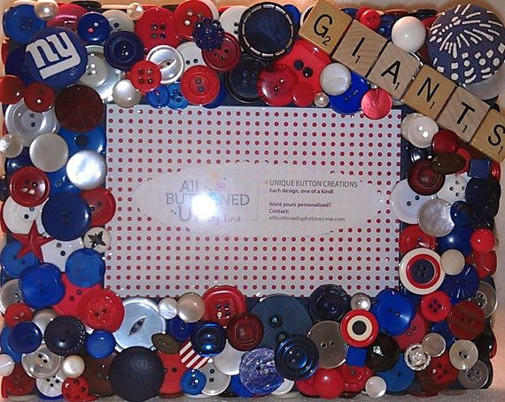 NY Giants Button Picture Frame in Red, White &Blue for 4\