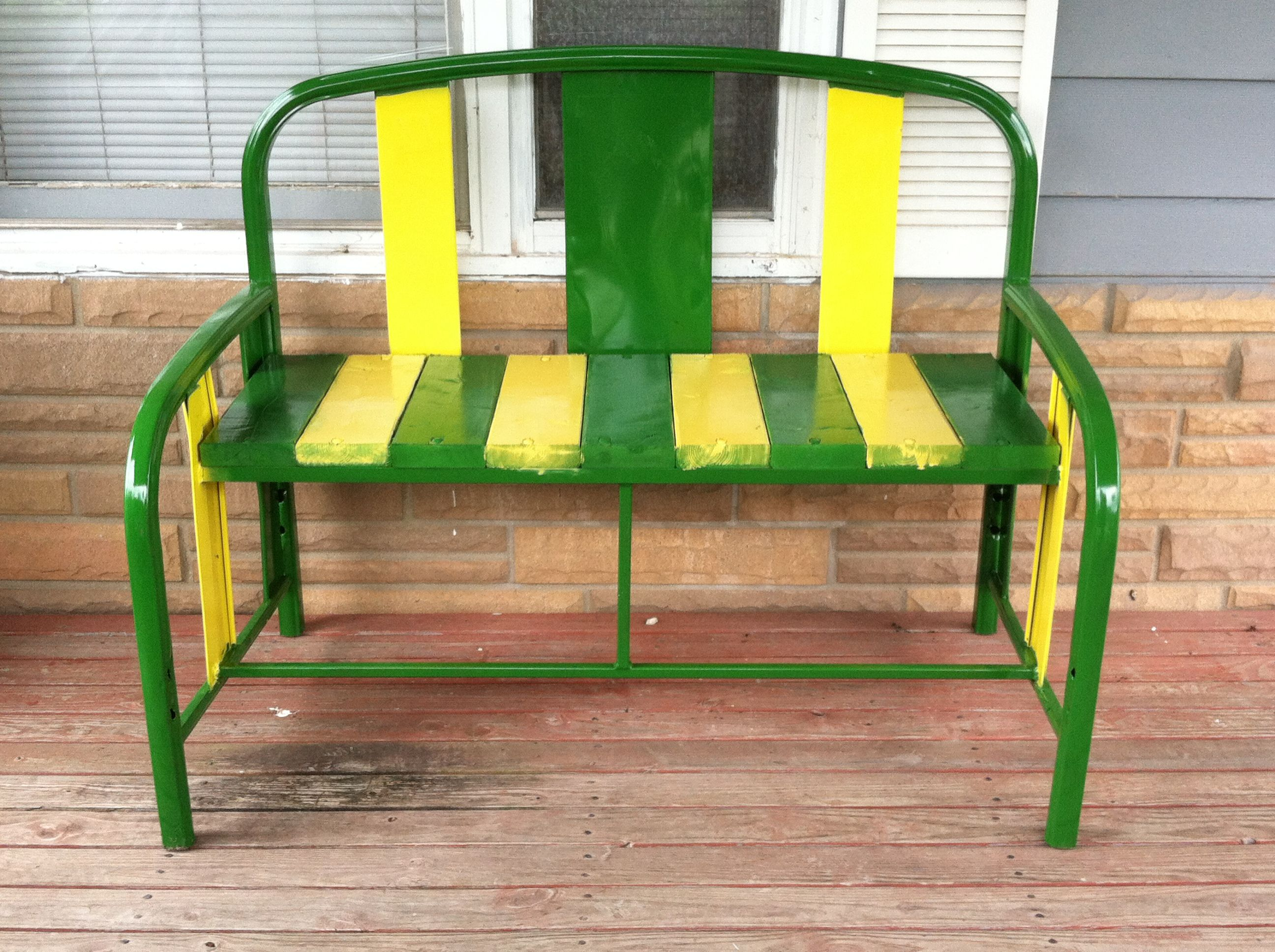 Beautiful Old Metal Bed Frame Turned Into A Bench.