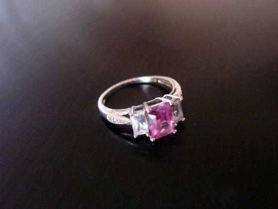 Estate 10k White Gold Pink Sapphire Diamond Ring 1 7 Grams Lgl Leer Gem Ltd Designer Signed Pink Sapphire Diamond Ring Pink Sapphire Sapphire Stone