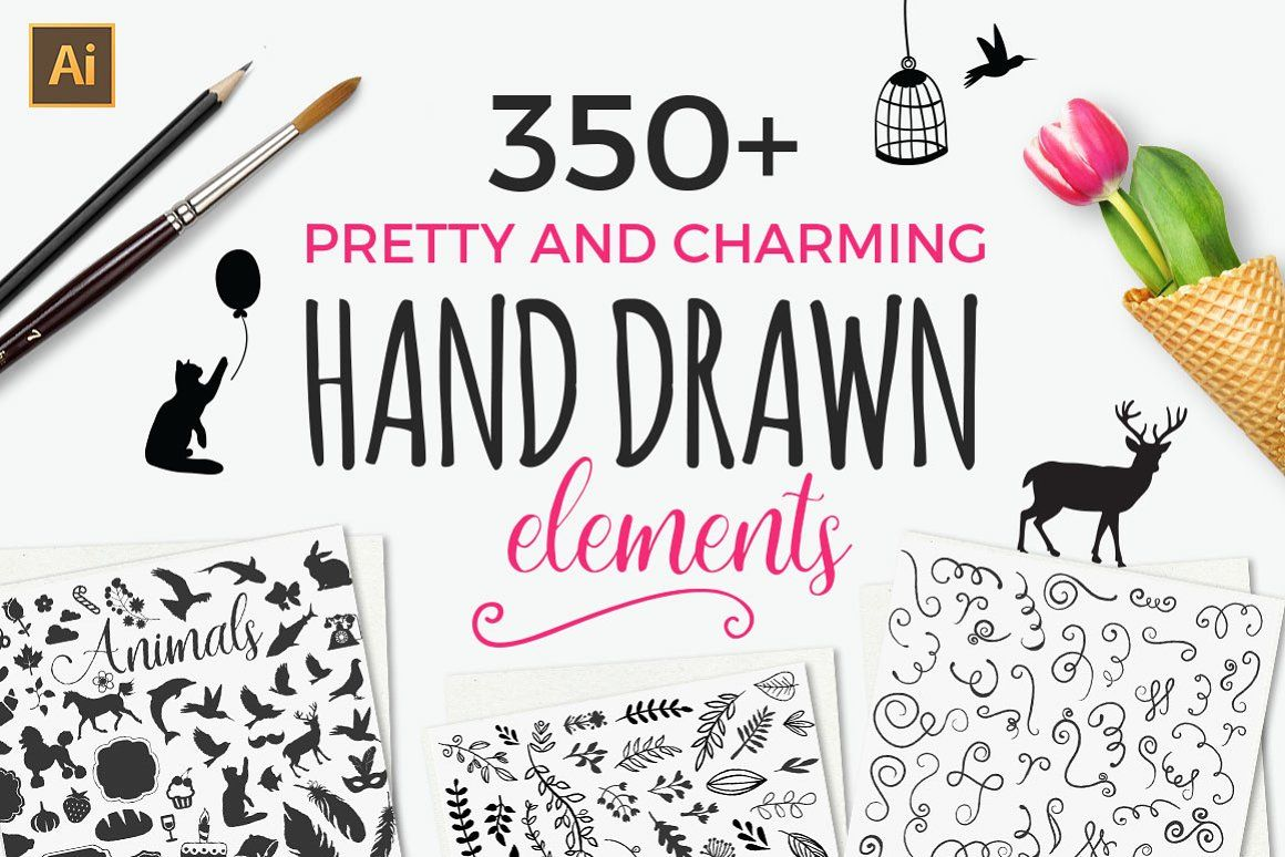 350 Hand Drawn Elements Logo Logos Font Vintage Template Bundle