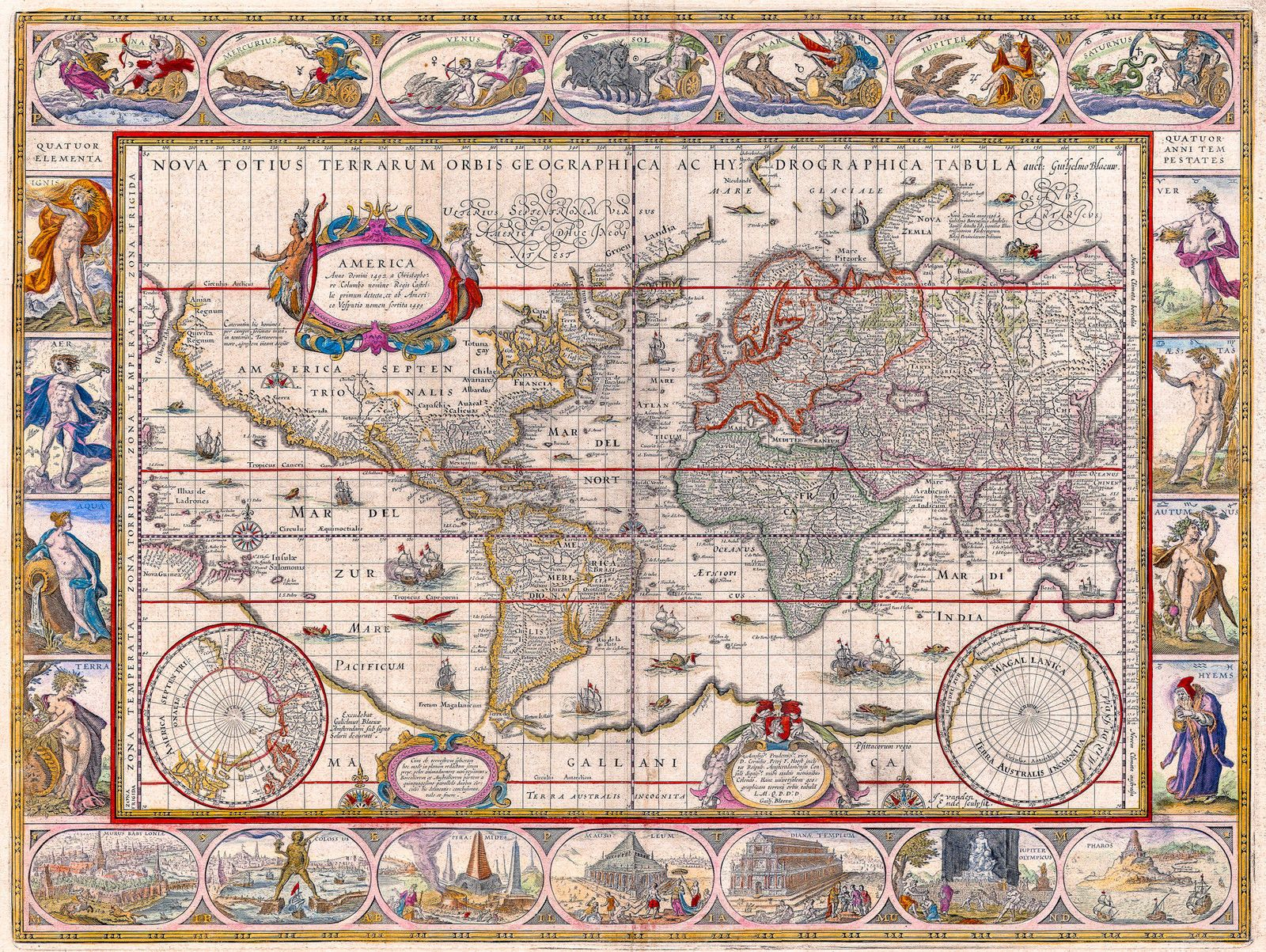 antique world map old vintage map 1571 fade resistant hd art print or