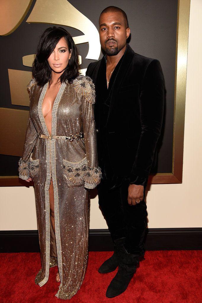 Hot Couples Share The Spotlight At The Grammys Kim Kardashian Kanye West Kim Kardashian And Kanye Grammy Awards Red Carpet