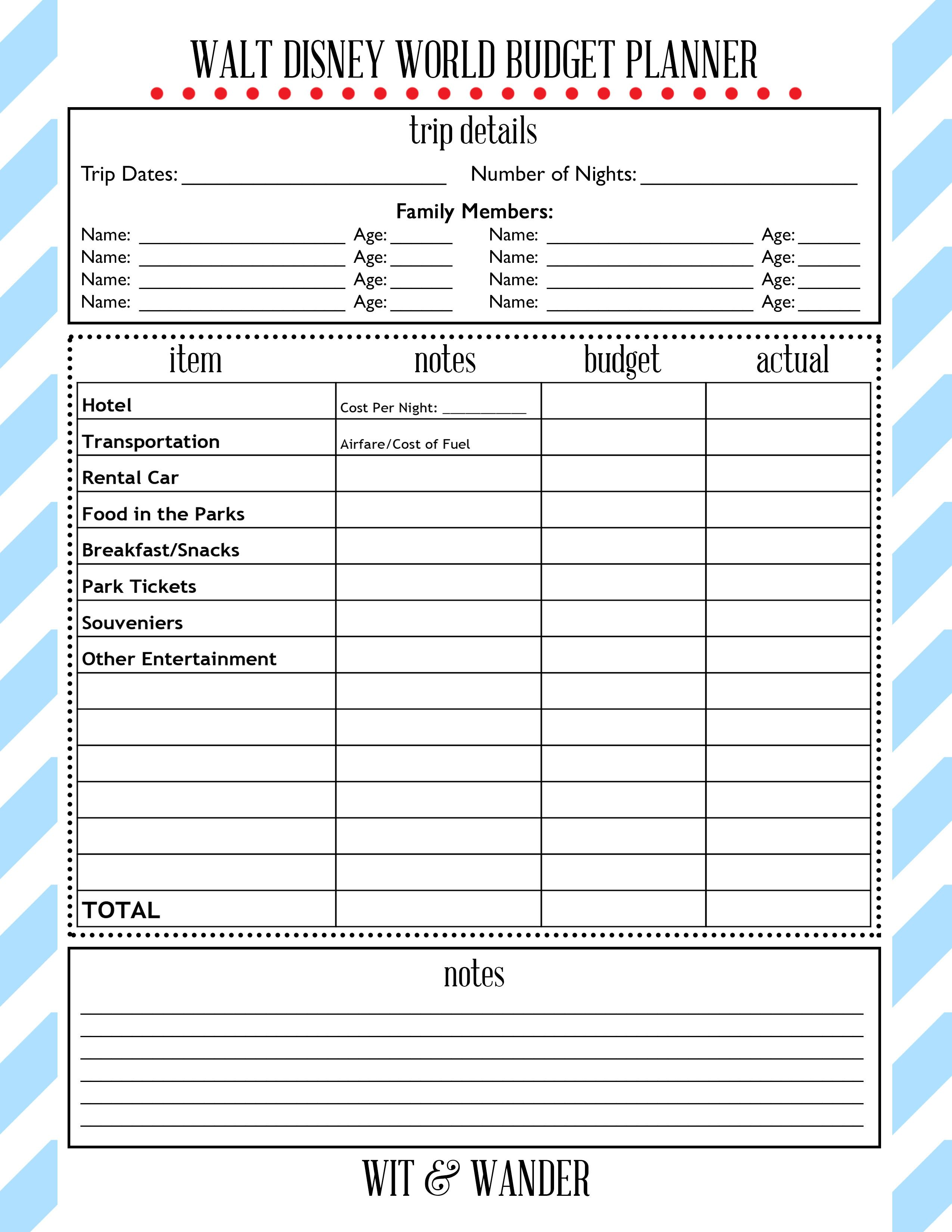 photograph relating to Vacation Planning Printable known as No cost Printables Disney Parks! within 2019 Disney upon a spending budget