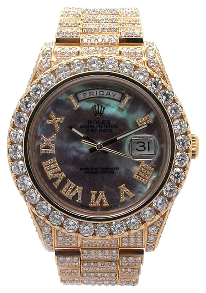 527a24ce8fe08 ROLEX Day-date II Presidential 18K YG 30ct Custom Diamond