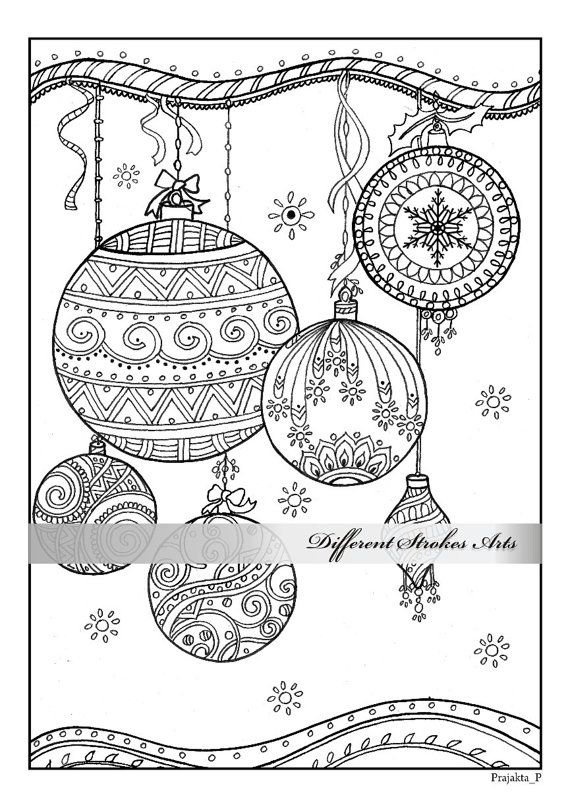 christmas ornaments coloring page by differentstrokesarts on etsy christmas colors pinterest. Black Bedroom Furniture Sets. Home Design Ideas