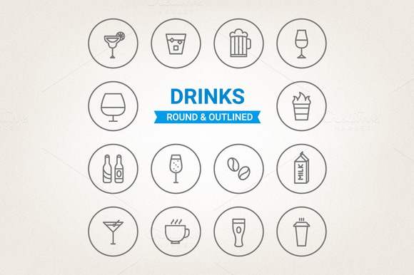 Circle drinks icons by miumiu on Creative Market