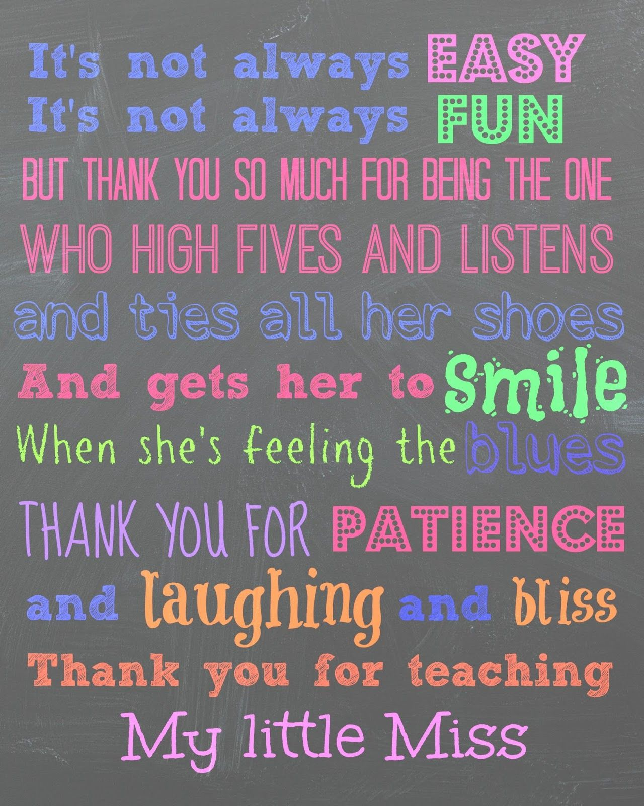 Thank You Teacher Quotes Teacher Appreciation Print End Year Teachers Gift Childcare Just
