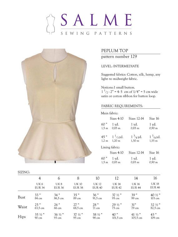 PDF Sewing pattern Peplum top by Salmepatterns on Etsy, $8.00 ...