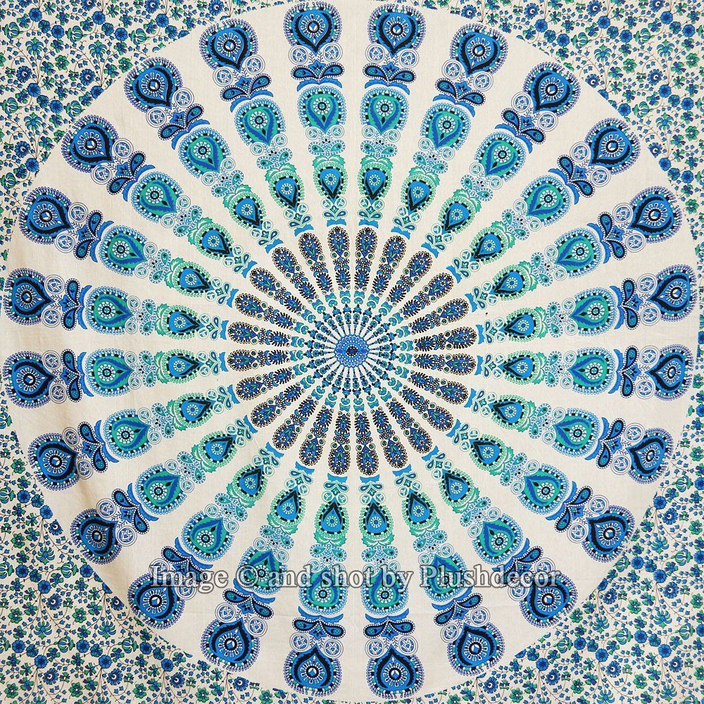 Amazon blue white peacock feather tapestries mandala hippie