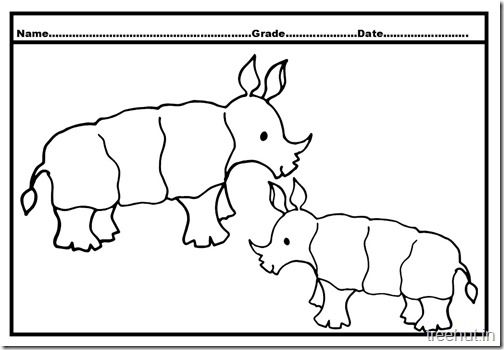 rhinoceros baby coloring page 4