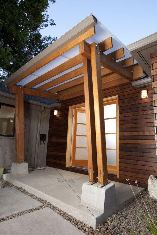 Glass Door Entrance Pergola Overhang Curb Appeal