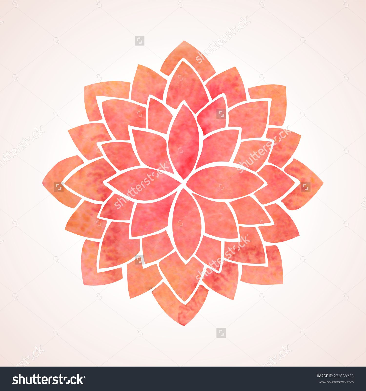 Watercolor Red Lotus Flower Mandala Oriental Indian Chinese Style