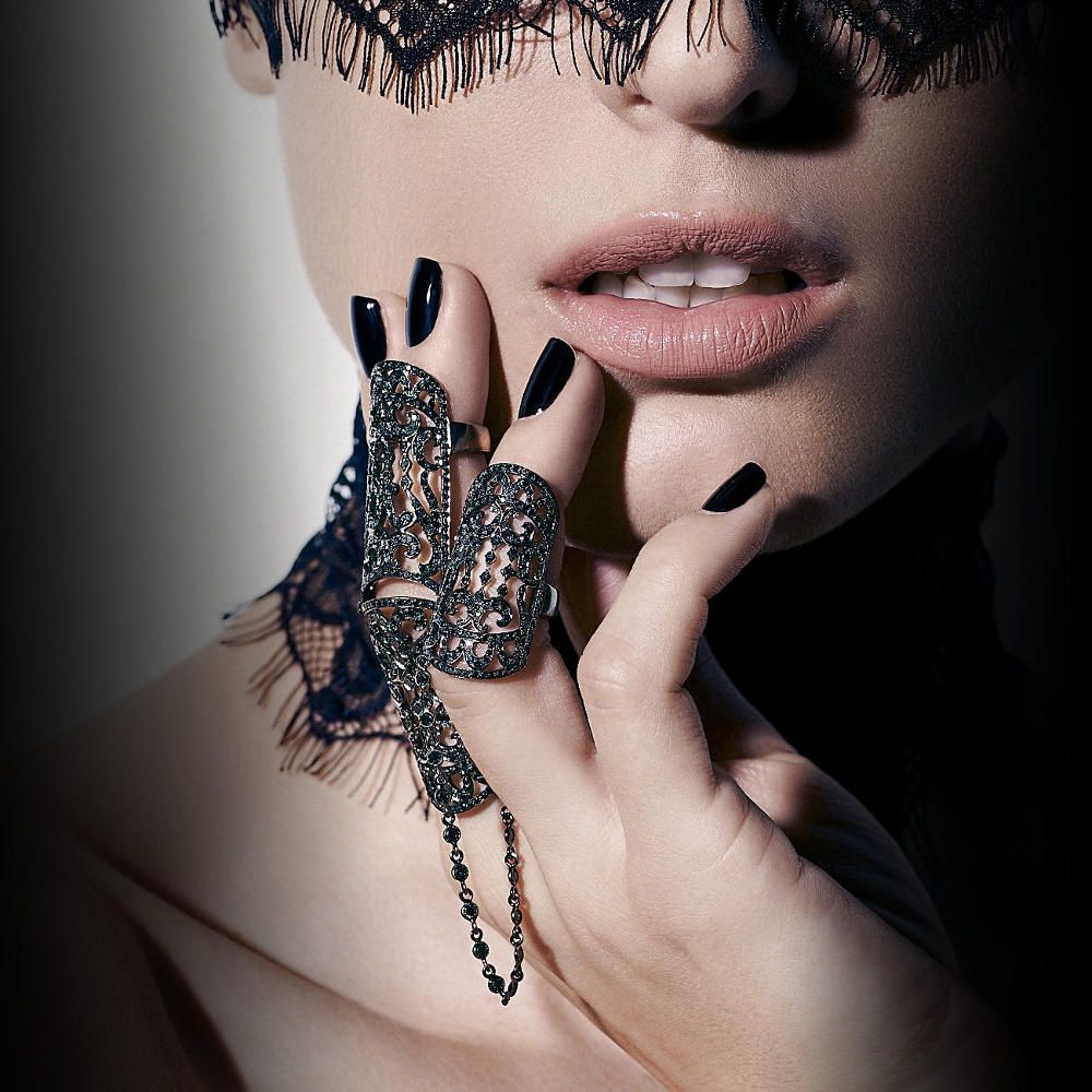 Bh1704 1 Piece Black Henna Cuff Tattoo With Flower Wrist: Noudar-BLACK HENNA RING Oxidised Gold Set With Black