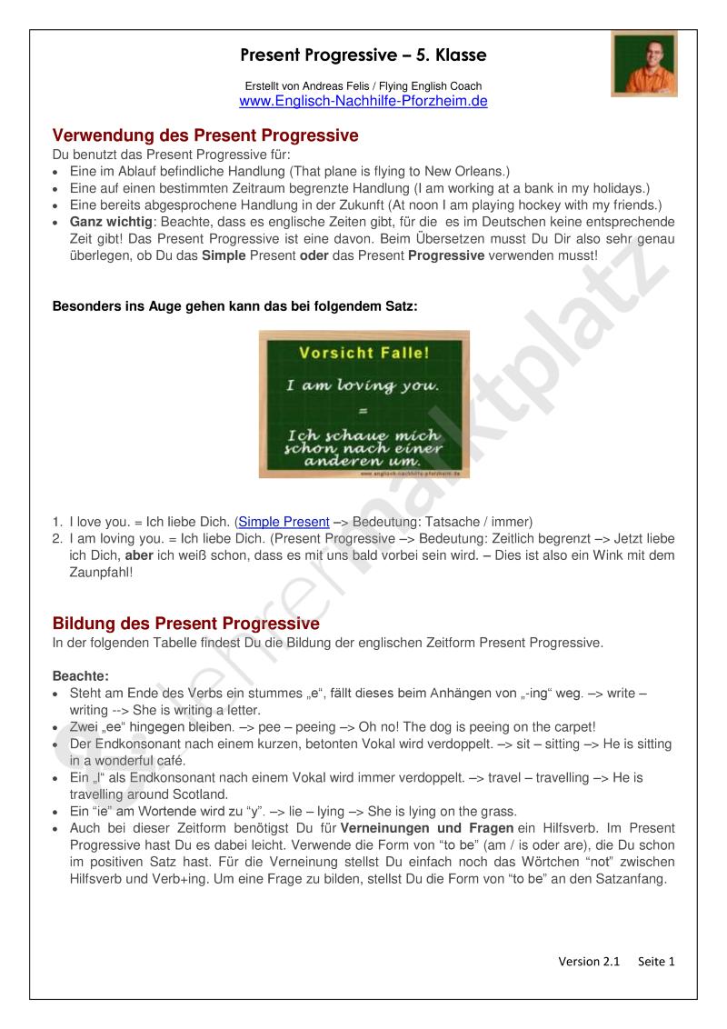 Present Progressive - Arbeitsblätter mit Lösungen | Englisch ...