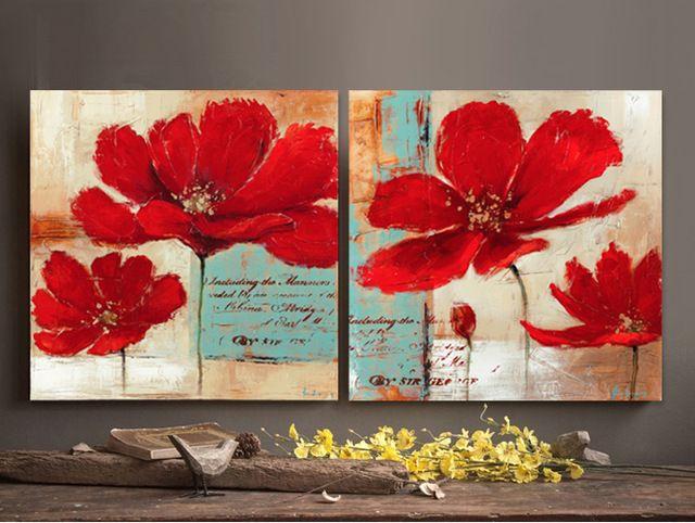 Fondo azul amapolas rojas flores de pintura al leo sobre for Pinturas para el hogar