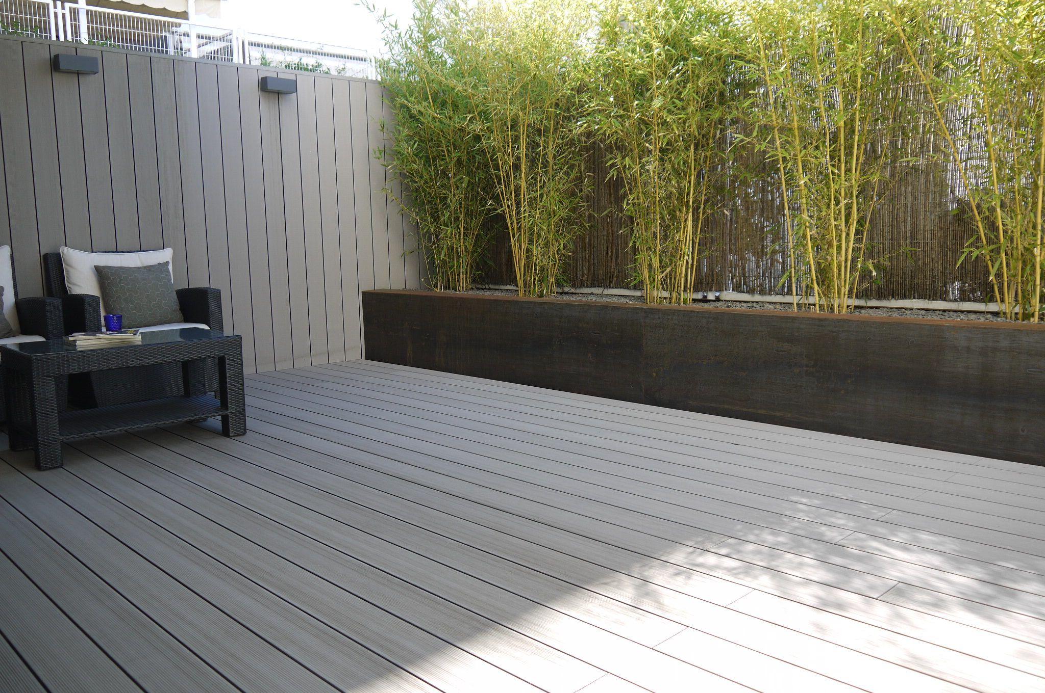 jardinera acero corten con bambes y madera tecnolgica gris