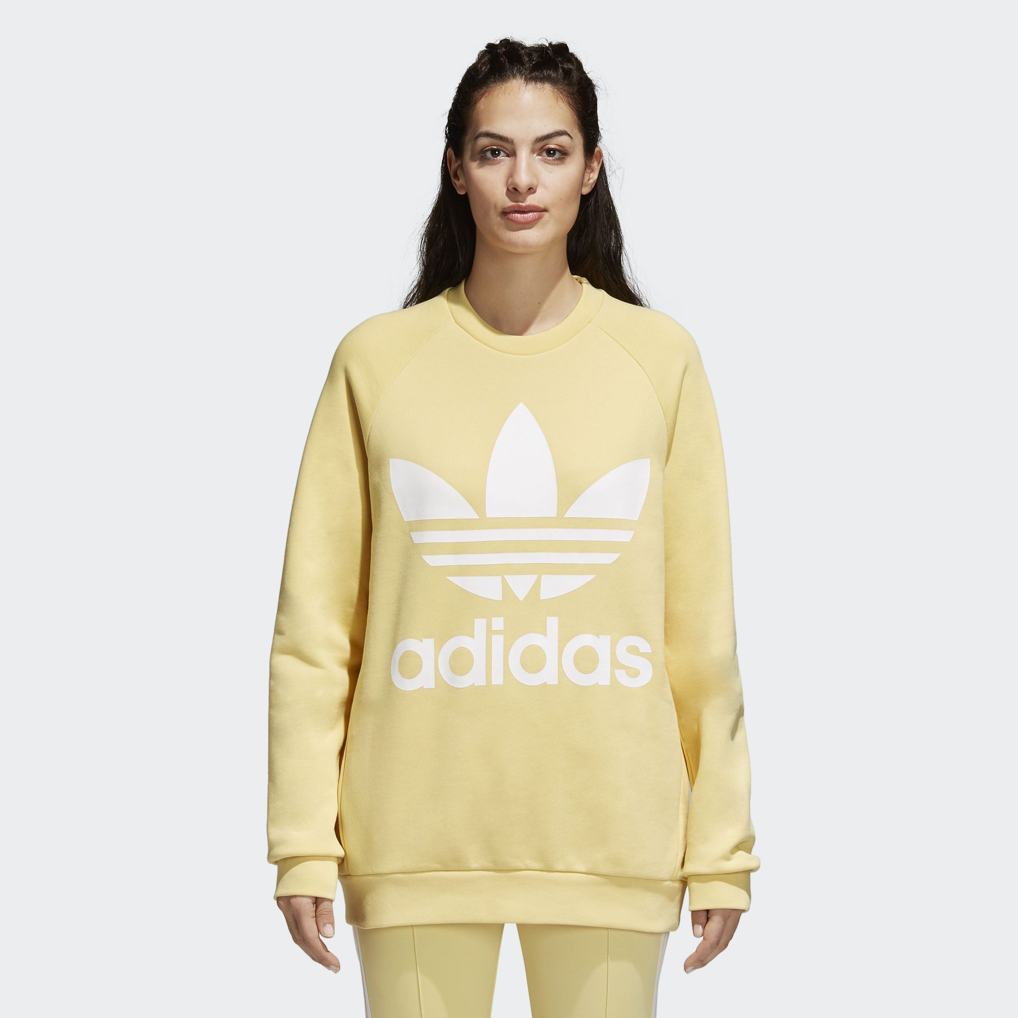 Shop The Trefoil Oversize Sweatshirt Beige At Adidas Com Us See All The Styles And Colors O Women Hoodies Sweatshirts Oversized Sweatshirt Sweatshirts Women [ 2000 x 2000 Pixel ]