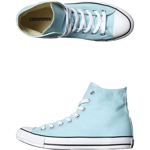 Converse Chuck Taylor Womens All Star Colour Hi Shoe Women's Shoes... ($39) ❤ liked on Polyvore featuring shoes, sneakers, poolside, blue canvas shoes, hi top canvas sneakers, blue high tops, blue sneakers and high top sneakers