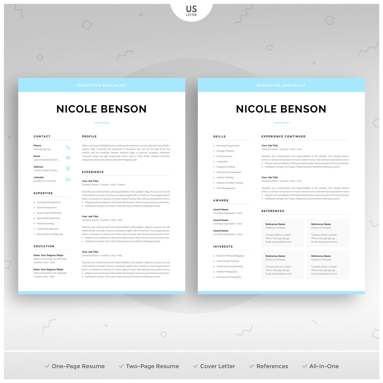 Creative Resume Template Modern Cv Design For Word Instant Etsy Creative Resume Templates Resume Template Cover Letter For Resume