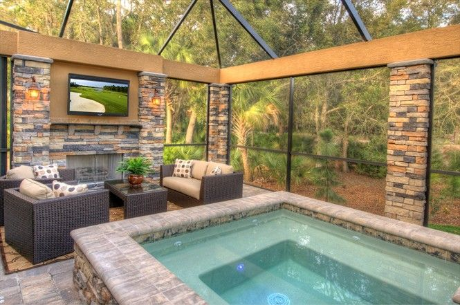 Backyard Living Ideas love the fireplace, sitting area, jacuzzi & tv in this very cool