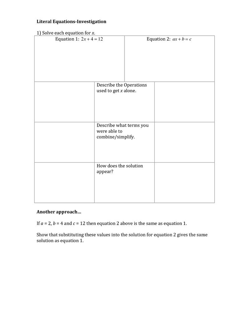 worksheet Literal Equation Worksheet literal equations education pinterest equation algebra and equations