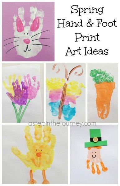 Spring Handprint Footprint Art Roundup Spring Art