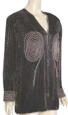 Vintage 80s Jacket Silk Black Beaded Pearls Glam Deco Trophy L