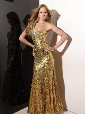 Vestidos Dorados Elegantes Y Largos Vestidos De Noche