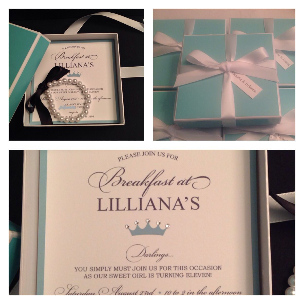 Breakfast at tiffanys tiffany co inspired invitation for my inspired invitation for my daughters 11th birthday boxes and ribbon from creative bag in the toronto area swarovski flatbacks from allbeads and 100 stopboris