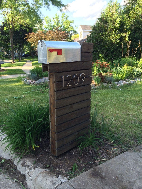 Modern Mailbox Dark Walnut Modern Mailbox Mailbox Design Mailbox Makeover
