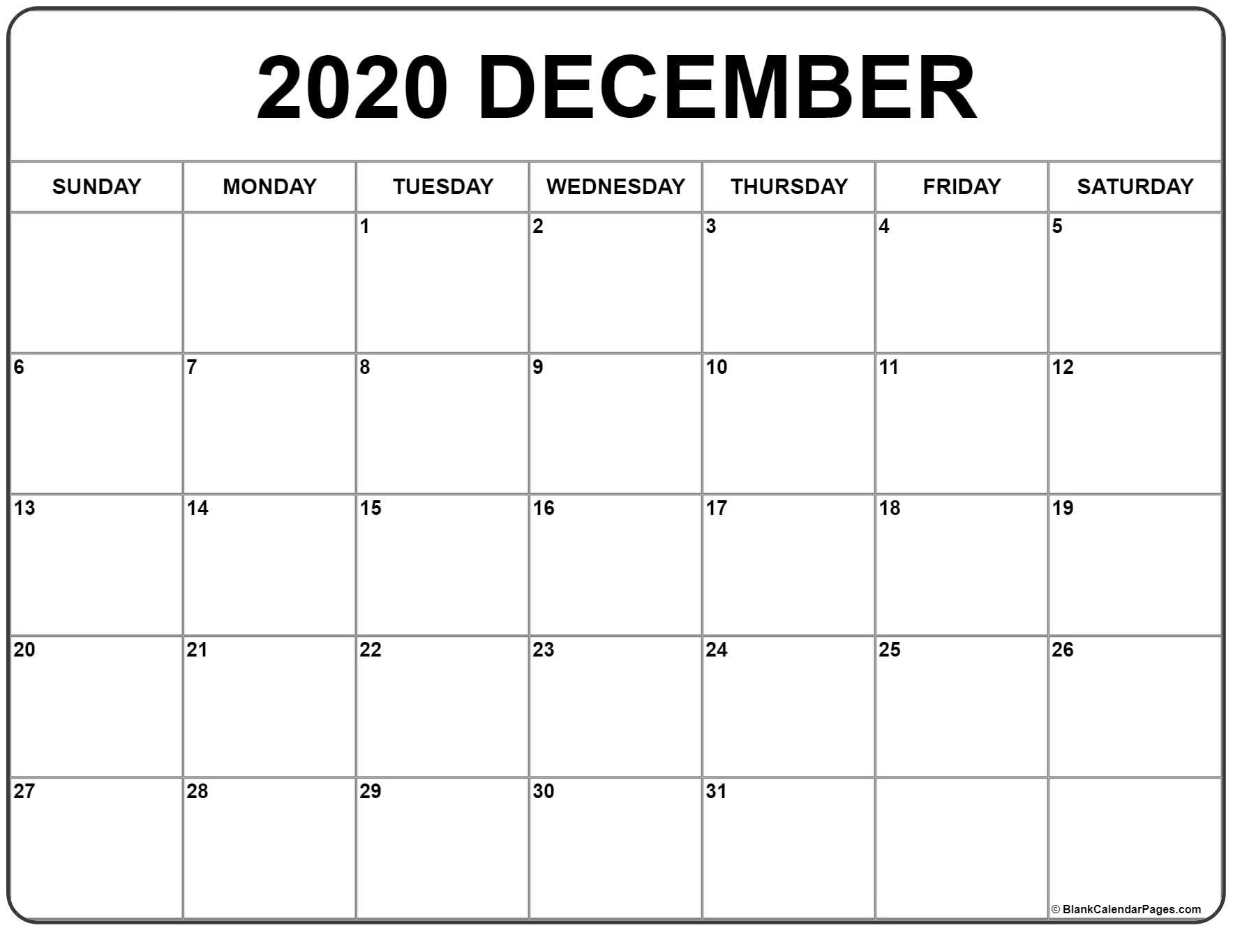 Monthly 2020 Printable Calendar Template Monthly Calendar