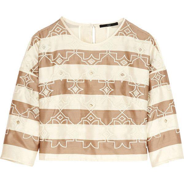 Tibi Escalante cropped striped silk top (1.980 NOK) ❤ liked on Polyvore