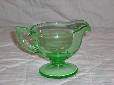 Green Depression Glass Art Deco/Modern Footed Creamer. Great Color!