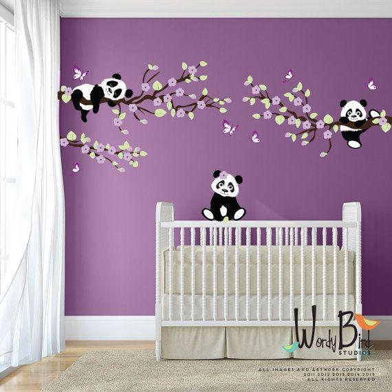 Panda muur stickers muur stickers van de boom door wordybirdstudios