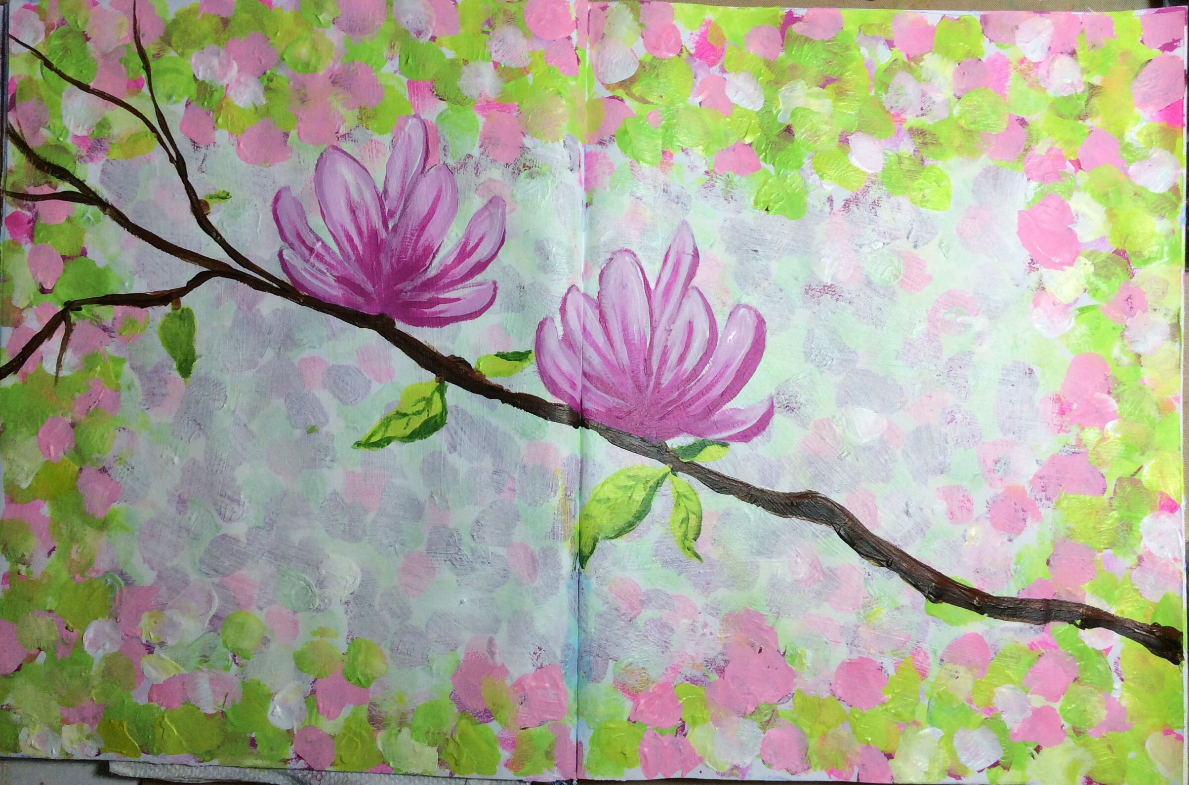 Magnolias in Spring. Tried it in my journal first. Considering canvas