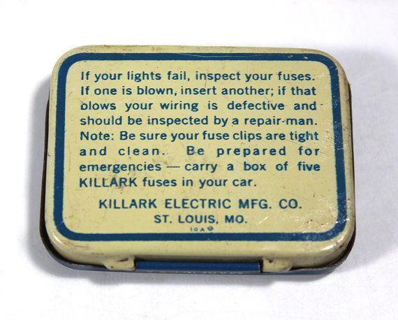 vintage killark auto fuses tin with 5 fuses
