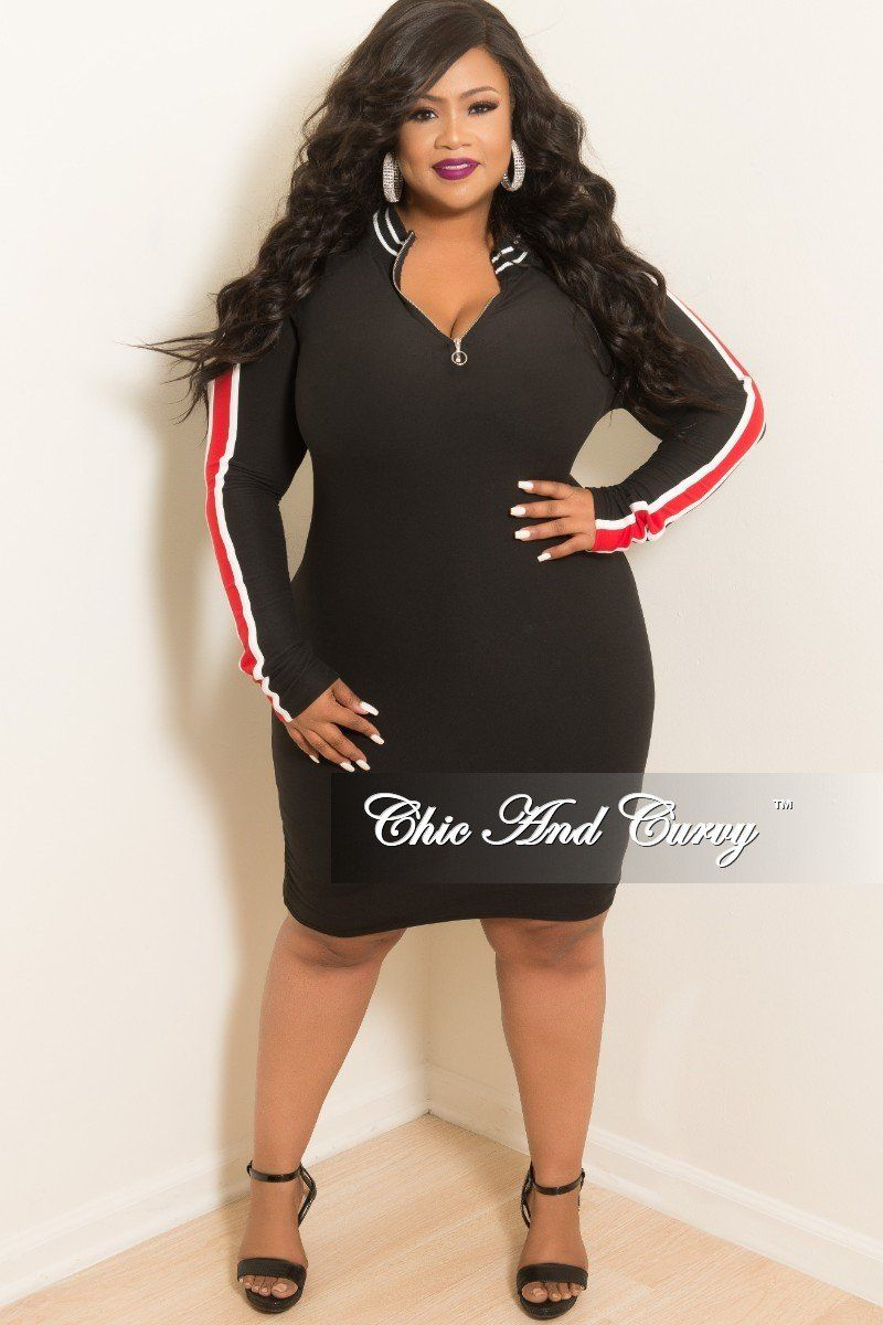 c977f68b21b Plus Size Long Sleeve Zip-Up BodyCon Dress in Black – Chic And Curvy ...
