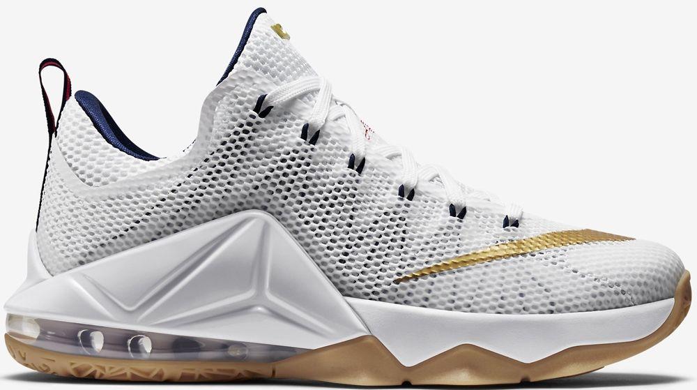 Nike LeBron 12 Low White/Midnight Navy-University Red-Metallic Gold